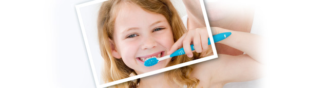 Graphic of a child brushing her teeth.
