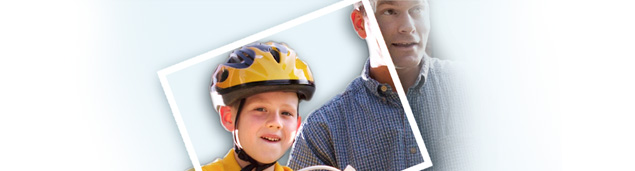 Graphic of child with a helmet riding his bike next to his father.