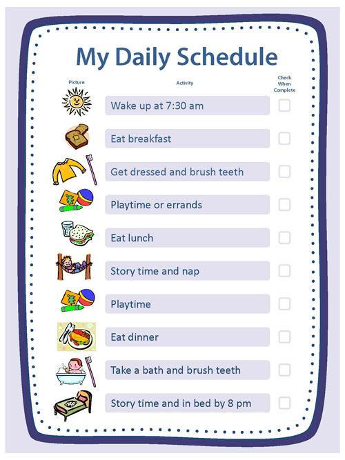 Creating structure activities essentials parenting for Daily schedule template for students