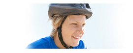Graphic showing a teen-aged boy wearing a helmet.