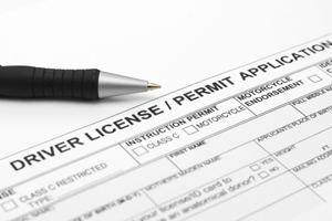 photo of a driver license application
