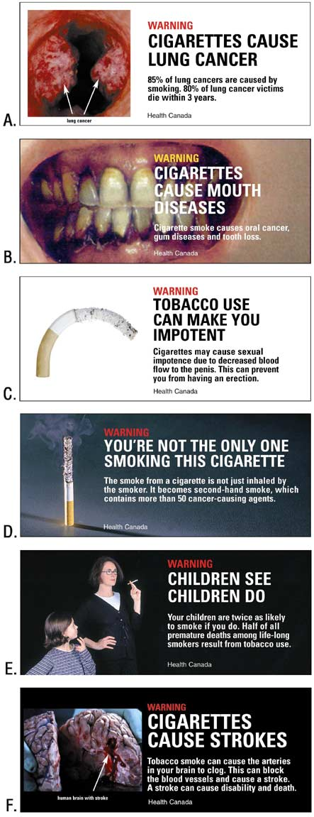Six Canadian health warning labels placed on cigarette packages sold