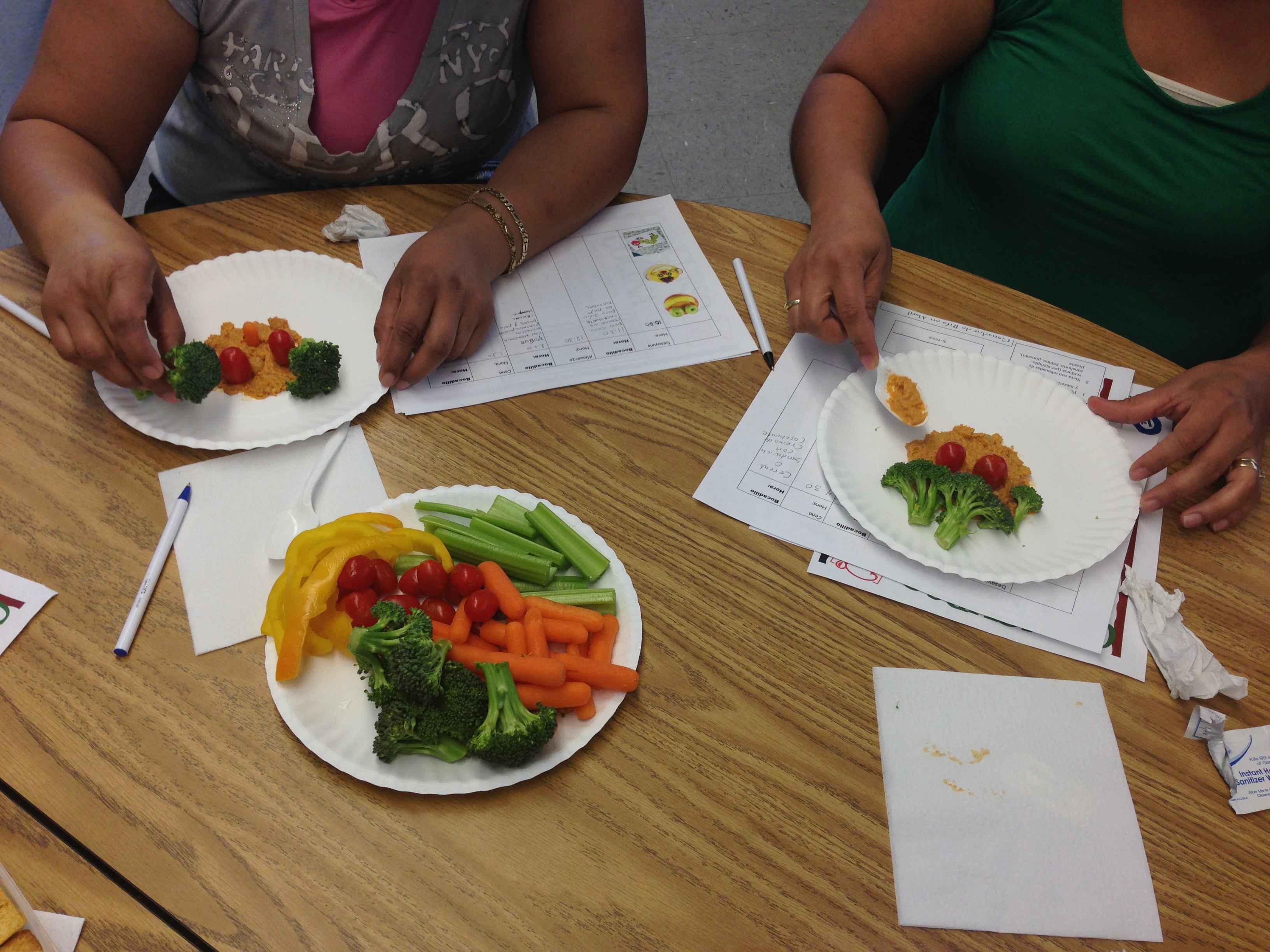 Photograph of a food-preparation activity from a culturally adapted nutrition education program for Mexican-origin families, California's Central Valley, 2012–2013