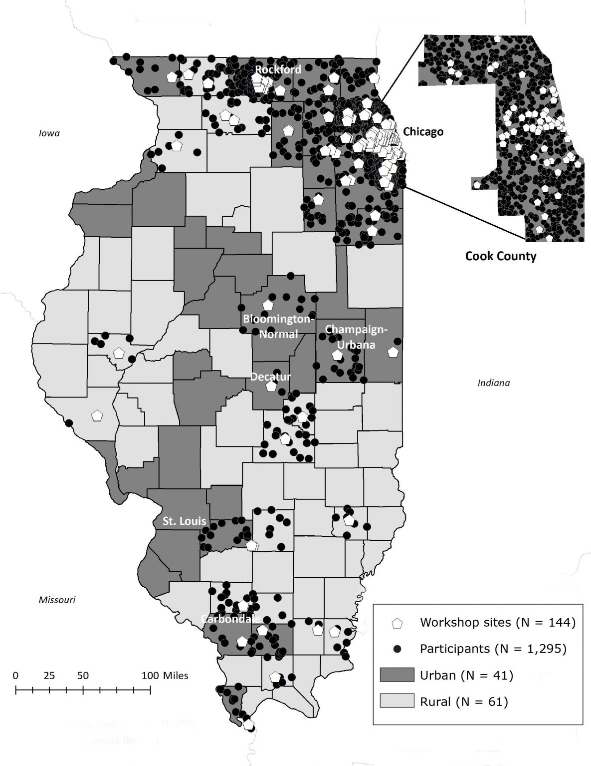 Location of workshop sites for the Chronic Disease Self-Management Program and the Diabetes Self-Management Program and distribution of participants' home addresses by rural and urban counties in Illinois during 2016–2017. We used the dot-density function to indicate the correct number of participants per county while protecting information on participants' exact residential locations. Data sources: Illinois Pathways to Health (19), US Census Bureau (20).