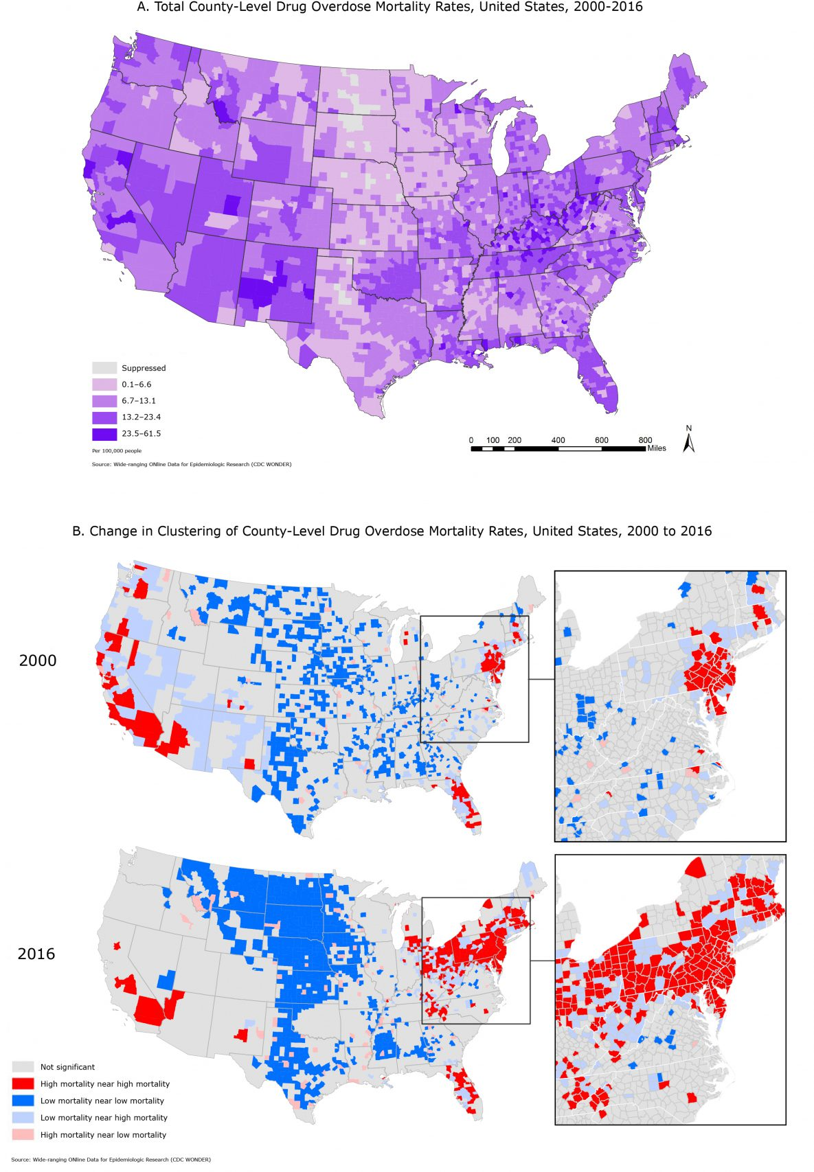 Map A displays all drug overdose mortality in contiguous US counties for 2000–2016. Overall, observed mortality rates were higher in Appalachia and the Southwest. Map B displays clustering in US county-level drug overdose mortality in 2000 adjacent to drug overdose mortality in 2016 to visually compare the geographic change in drug overdose mortality. The magnified images suggest that counties with low mortality rates that are adjacent to those with high mortality rates may be at risk for increased deaths from drug overdose. The results highlight areas that are identified as significant clusters of drug related overdose mortality.