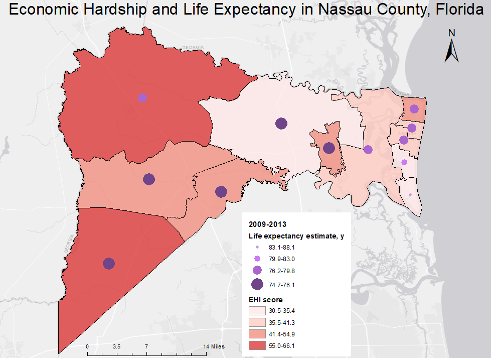Economic Hardship Index (EHI) scores and life expectancy estimates at birth, by census tract, in Nassau County, Florida. EHI scores and life expectancy estimates were grouped into 4 classes by using Jenks natural breaks and combined to produce a bivariate map. EHI scores range from 0 to 100, with higher scores indicating worse economic conditions. The map highlights marked differences in economic conditions and life expectancy between census tracts. The map was shared with county health department staff members in response to calls for locally relevant data to address health disparities.