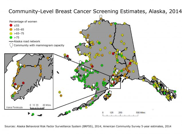 Estimated percentage of women aged 45 to 74 in Alaska who reported receiving a mammogram in the previous 2 years, based on the 2014 Behavioral Risk Factor Surveillance System and the 2014 American Community Survey (ACS) 5-year estimates. A community was defined as any city, town, or unique rural population center. Communities with mammogram capability may be only partially staffed. This map helped the Alaska Breast Cancer Coalition prioritize screening outreach efforts.