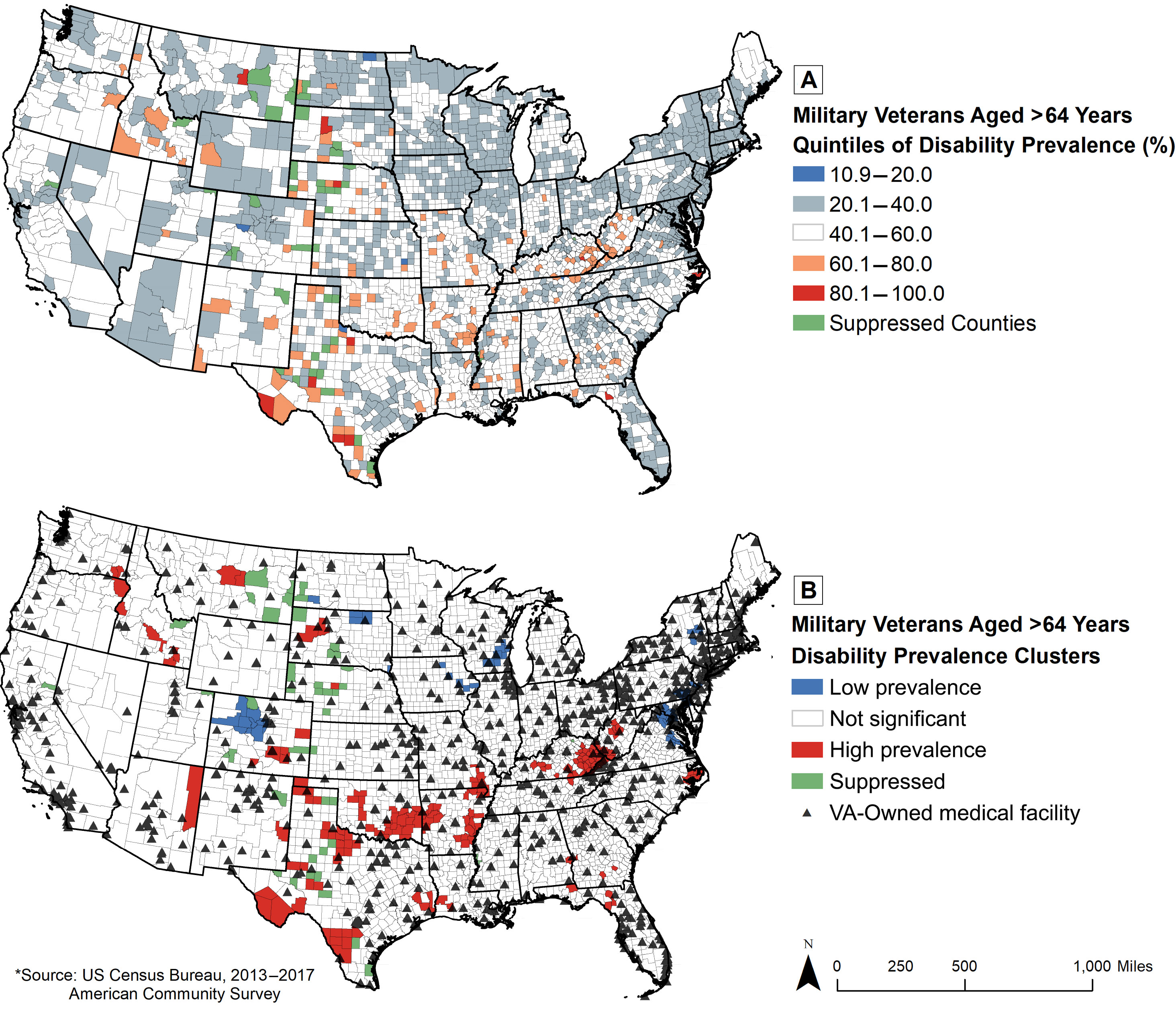 Geographic Distribution Of Disability Among Older Veterans United States 2013 2017