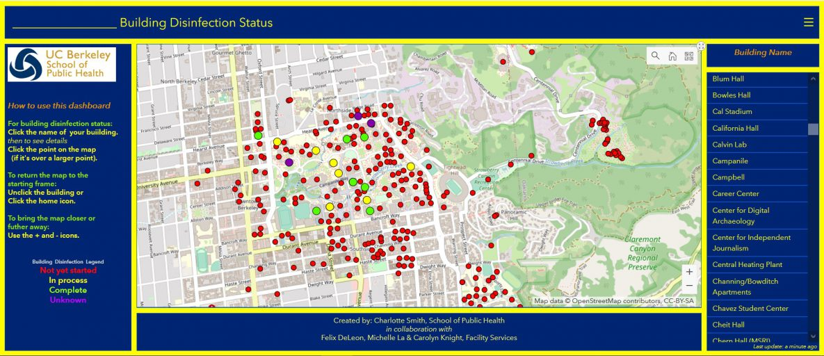 An interactive dashboard for showing the status of disinfection of buildings during the coronavirus disease 2019 (COVID-19) pandemic on the campus of the University of California, Berkeley.