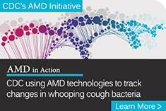 illustration of colorful DNA strand behind the text - CDC using AMD technologies to track changes in whooping cough bacteria