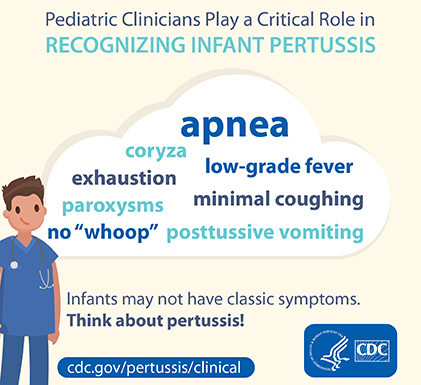 Pediatric clinicians play a critical role in recognizing infant pertussis.