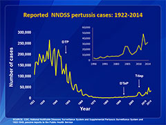 This line chart depicts U.S. reported pertussis incidence for reporting period 1922-2012. Detailed text description follows this figure.