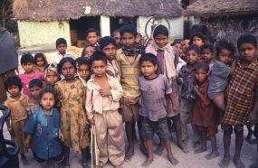 This 2000 image depicted a group of Indian children gathered together in their village located in the state of Uttar Pradesh.
