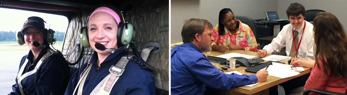 Two Photos: First image shows two associates in the field preparing for helicopter transport. Second image shows a group of asociates in an office setting meeting with a health department official.