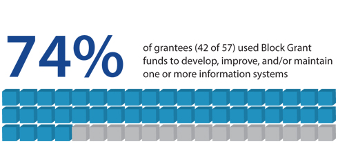 74% of grantees (42 of 57) used Block Grant funds to develop, improve, and/or maintain one or more information systems.
