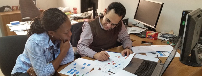 Public Health Informatics Fellowship Program fellow and CDC Cairo office data manager collaborate in assessing data management workflows for International Emerging Infections Program, Cairo, Egypt.