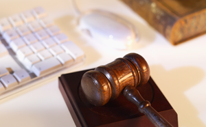 keyboard, mouse, and a gavel