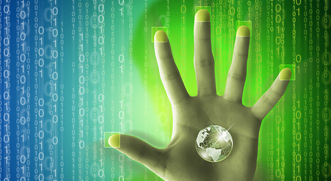 Globe in palm of hand with binary code