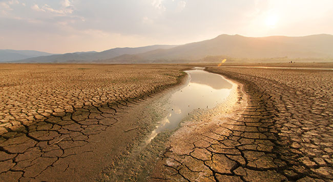 Photo: Dried lake and river on summer and Climate change concept. - stock photo