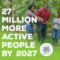 Active People Healthy Nation 27 million more active people by 2027, AA family walking