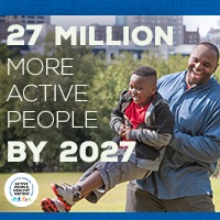 Active People Healthy Nation 27 million more active people by 2027, AA father and son playing