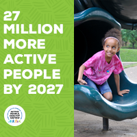 Active People Healthy Nation 27 million more active people by 2027, AA girl on slide