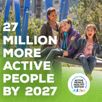 Active People Healthy Nation 27 million more active people by 2027, Latino family at the park