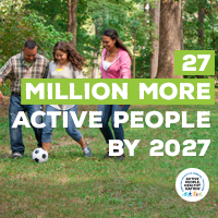 Active People Healthy Nation 27 million more active people by 2027, Latino family playing soccer