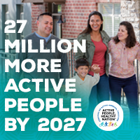 Active People Healthy Nation 27 million more active people by 2027, Latino family walking