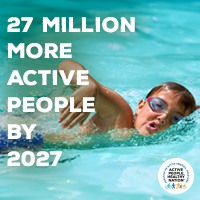 Active People Healthy Nation 27 million more active people by 2027, White boy swimming