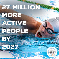 Active People Healthy Nation 27 million more active people by 2027, White man swimming