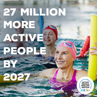 Active People Healthy Nation 27 million more active people by 2027, White woman swimming