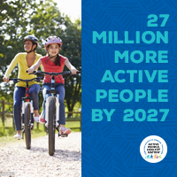 Active People Healthy Nation 27 million more active people by 2027, Hispanic family biking