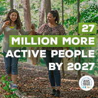 Active People Healthy Nation 27 million more active people by 2027, Hispanic mother and daughter walking