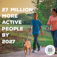 Active People Healthy Nation 27 million more active people by 2027, AA Hispanic dog walking