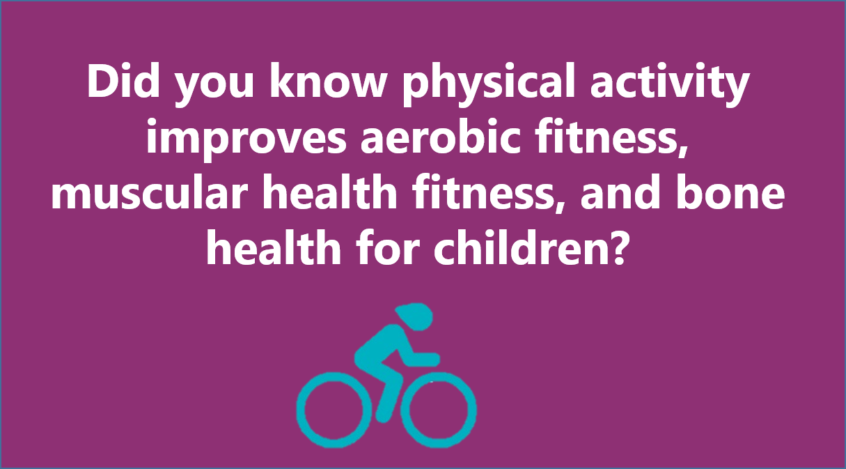 Did you know physical activity improves aerobic fitness, muscular health fitness, and bone health for children?