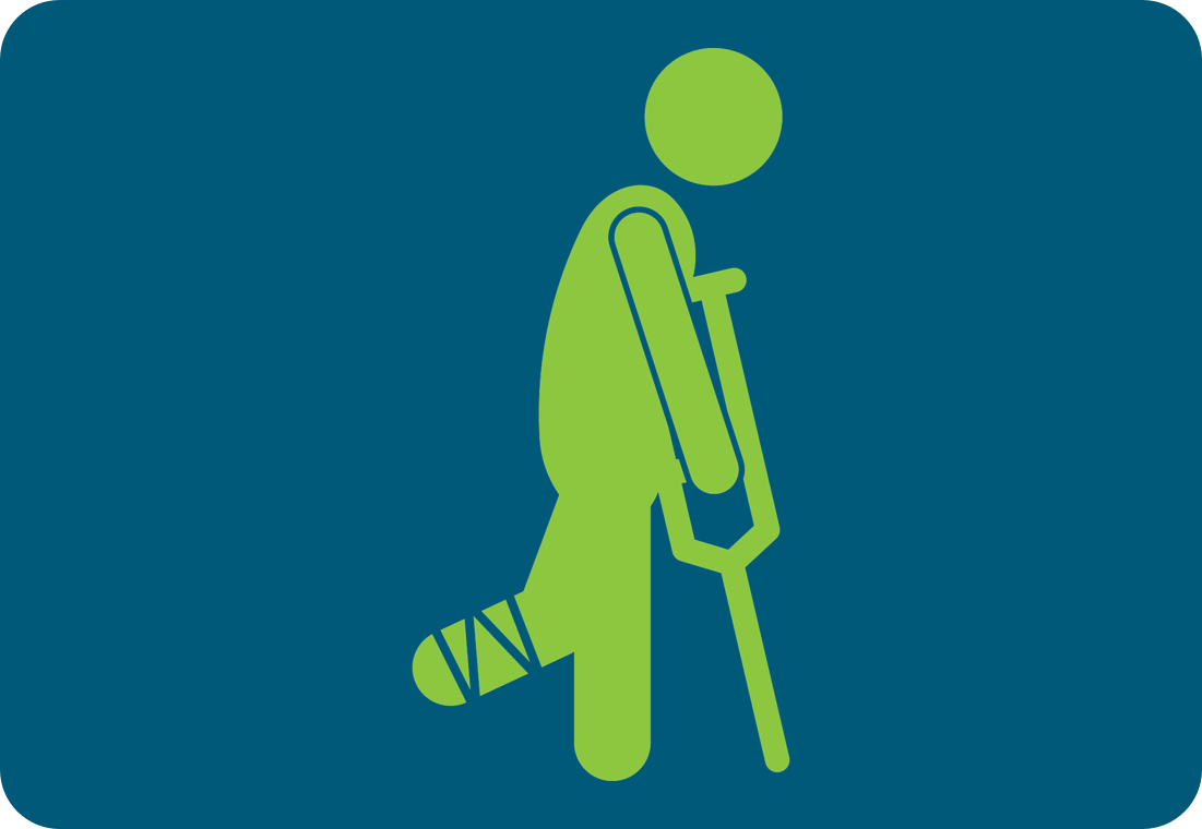 Icon: A person walking with crutches.