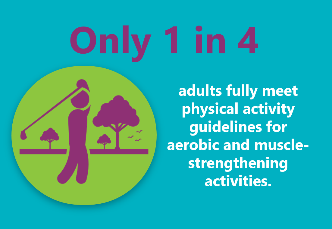 Only 1 in 4 adults fully meet physical activity guidelines for aerobic and muscle strengthening activities.