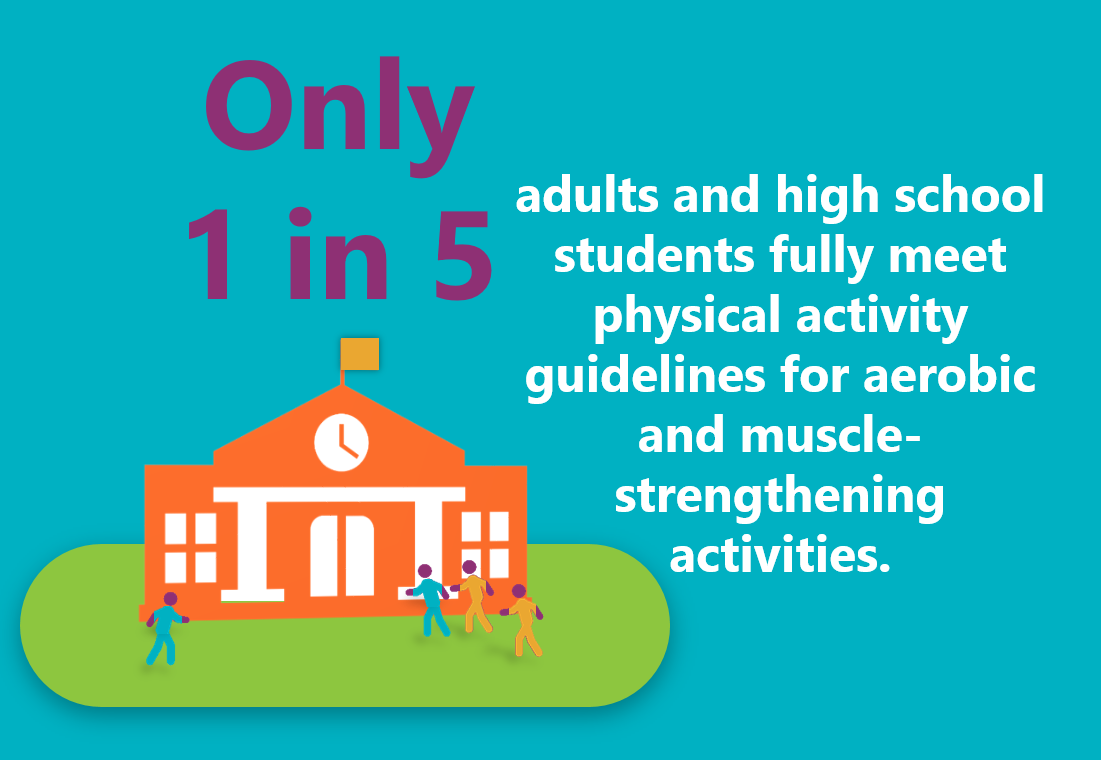 Only 1 in 5 adults and high school students fully meet physical activity guidelines for aerobic and muscle-strengthening activites.
