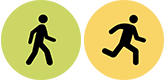 Icons: A combination of walking and running