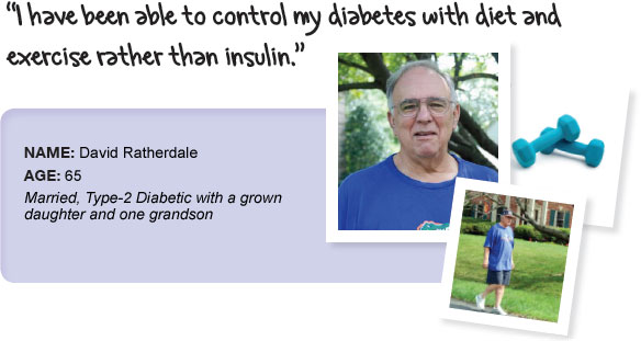 Name: David Ratherdale, Age: 65, Height: 6 feet 2 inches, Married, Type-2 Diabetic with a grown daughter and one grandson. I have been able to control my diabetes with diet and exercise rather than insulin.