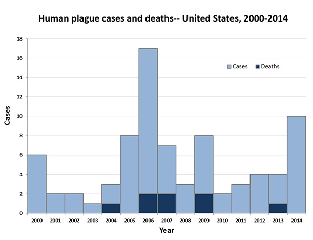 Graph showing human plague cases and deaths in the United States, 2000 to 2014.  There were 6 cases in 2000, 2 in 2001, 2 in 2002, 1 in 2003, 3 in 2004 with 1 death, 17 in 2006 with 2 deaths, 7 in 2007 with 2 deaths, 3 in 2008, 8 in 2009 with 2 deaths, 2 in 2010, 3 in 2011, 4 in 2012, 4 in 2013 with 1 death, and 10 in 2014.