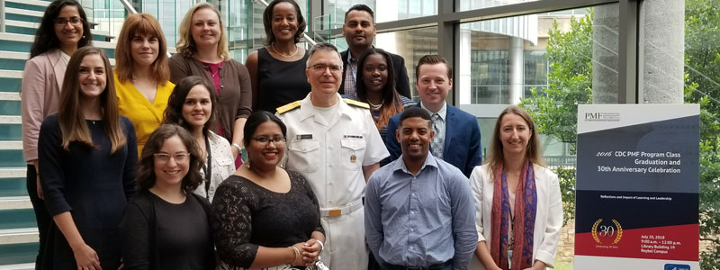 Class of 2016 fellows and Dr. Michael Iademarco, CSELS Director at the CDC PMF Program Class Graduation and 30th Anniversary Celebration. Atlanta, GA (2018)