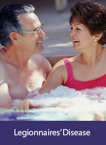 Couple relaxing in a hot tub, label: Legionnaires' Disease