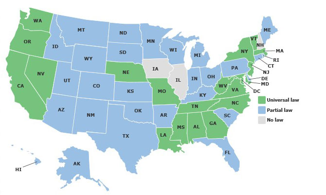 Current map of motorcycle helmet laws by state