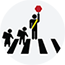 children crossing the street and a crossing guard