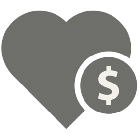 Icon of a heart with a coin on top of it
