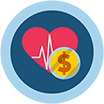 Icon of a heart and a coin, on menu bar for the Cost of Illness section