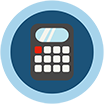 Icon of a calculator, on menu bar for the Program Cost Analysis section