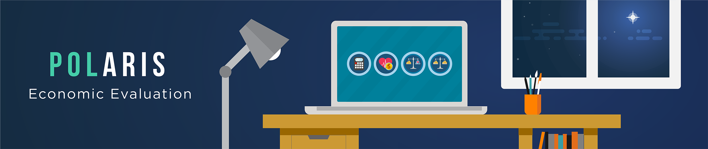 Banner at the the top of the page that says 'POLARIS Economic Evaluation' and has an illustration of a laptop on a desk with a screen that includes four icons, one for each section of the website